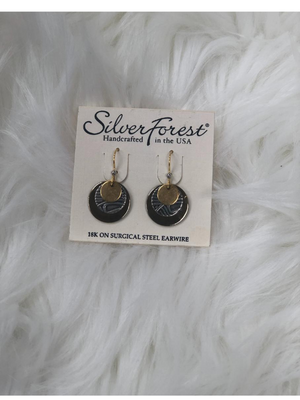 Round gold & silver earrings`