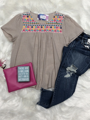 Taupe Stripe Embroidered Top