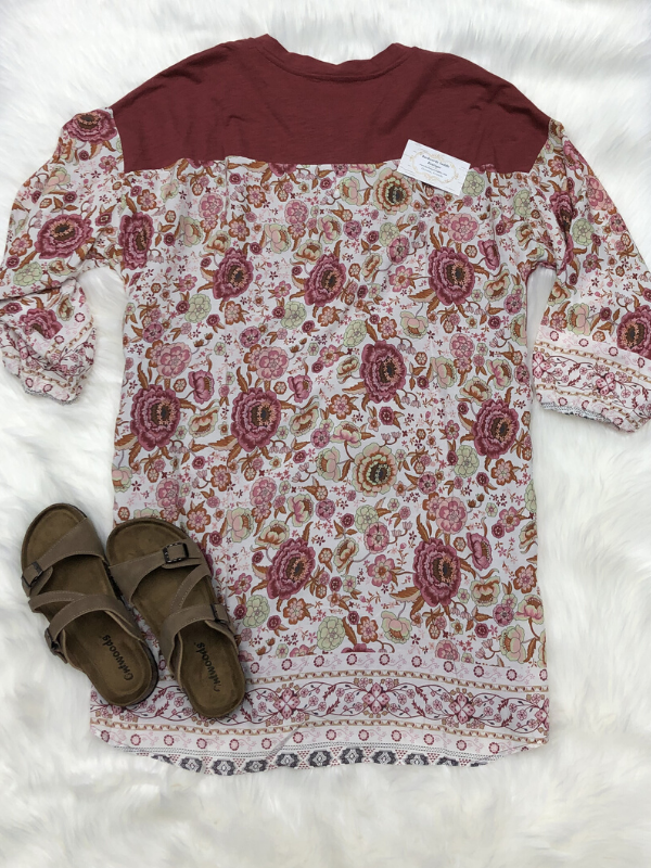 Marsala Border Printed Dress