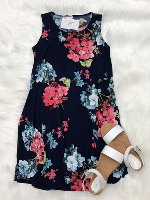 Navy & Coral Mini Dress