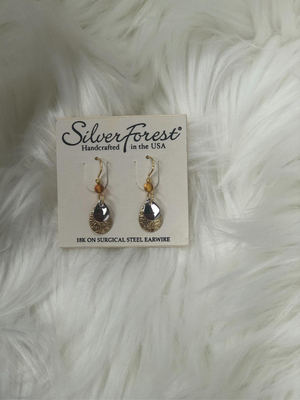 Tear drop shaped gold w/rose gold earrings`