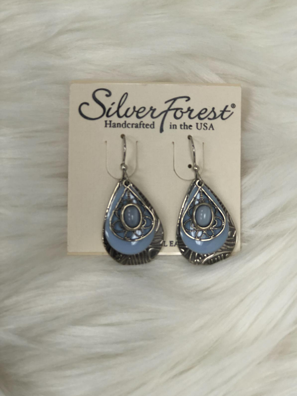 3 dangle silver earrings with light blue stone