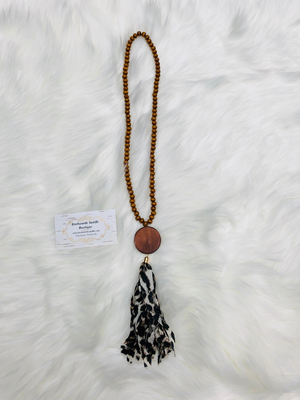 Black Leopard Tassel Necklace