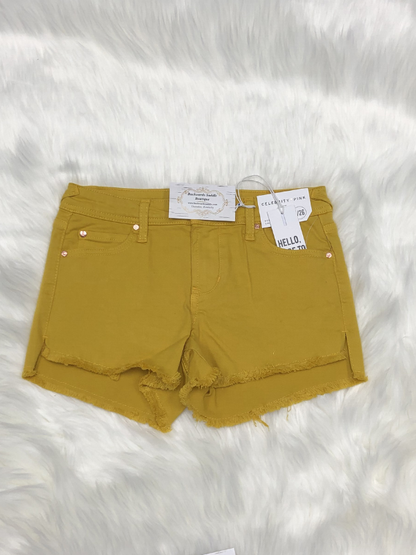 Celebrity Pink Yellow Denim Shorts