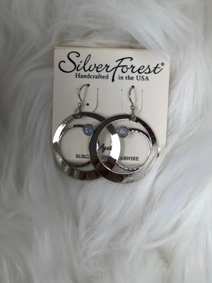 "1.5"" round silver earrings"