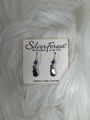 2 piece dangle silver earrings with blue bead