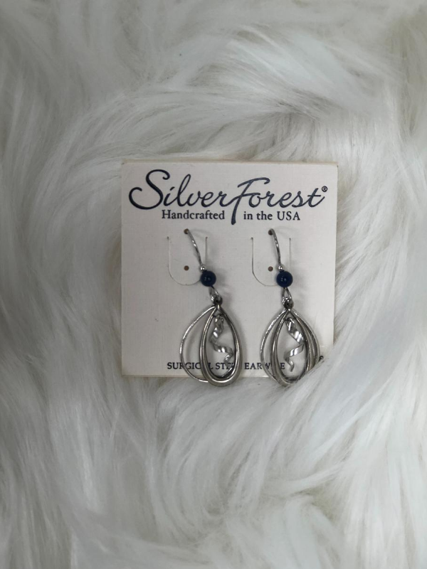 3 dangle silver earrings with blue bead
