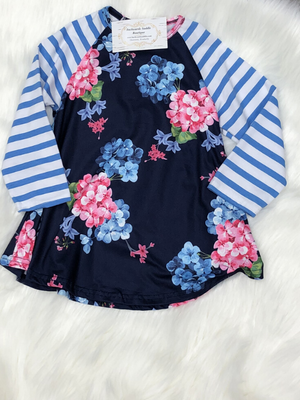 Floral Blue Stripe Dress