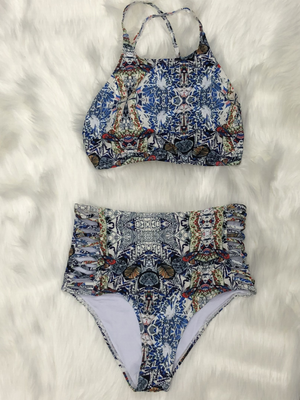 Multi print two piece swimsuit