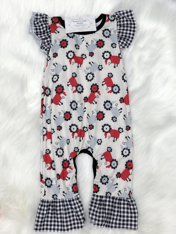Plaid Tractor Romper