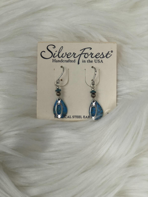 "Apprx 1"" dangle silver earrings with blue tear drop"
