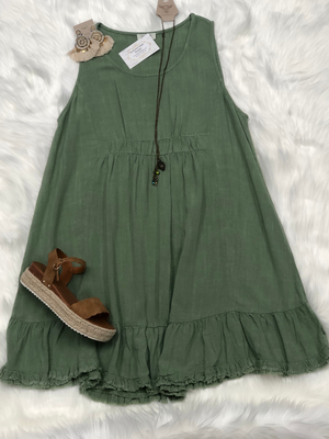 Simple Linen Blend Dress