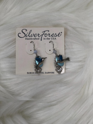 "Appx. 1.5"" Silver earrings lt. blue hummingbird"