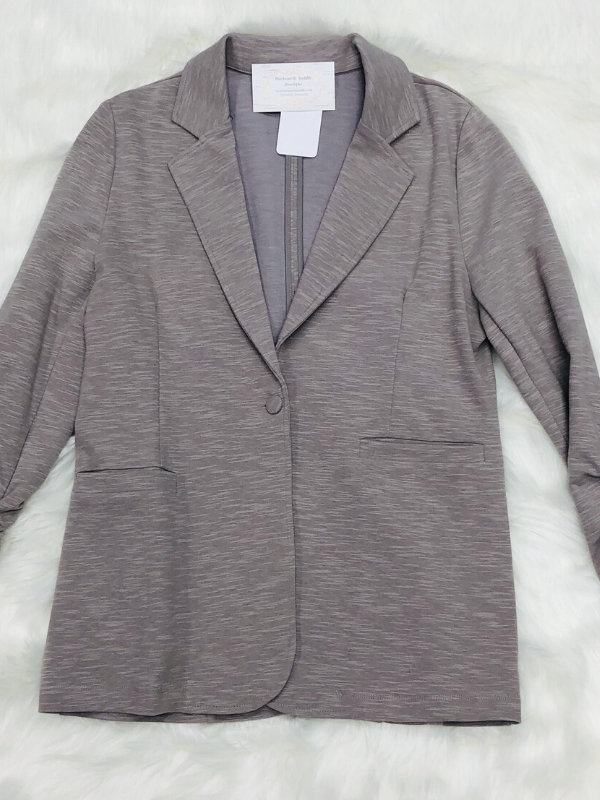Grey Shirring Sleeve Blazer