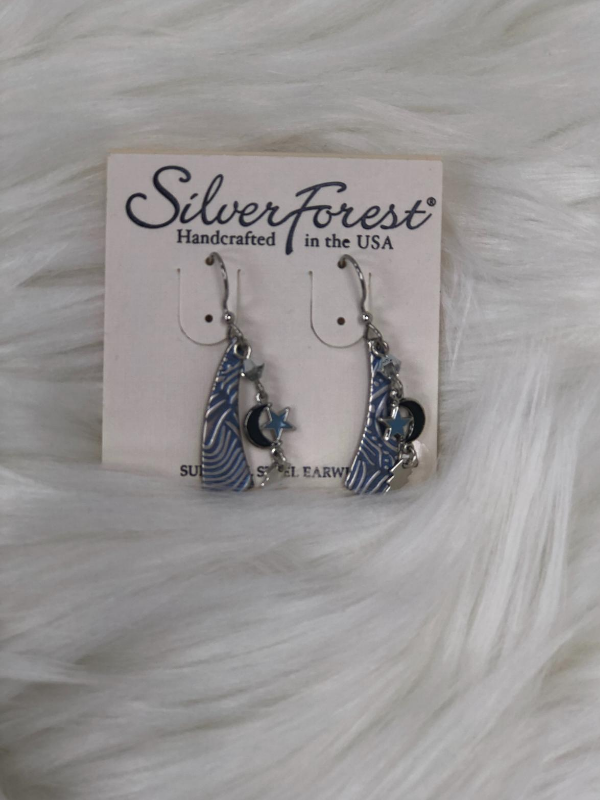 "Appx. 1.5"" Silver earrings lt. blue detailed"