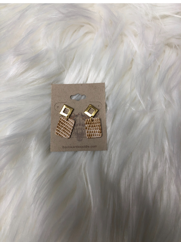 Tan with gold Dangle Earrings