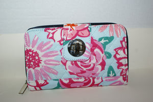 Pink flowered wallet