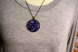 Floral Fabric Pendant #7