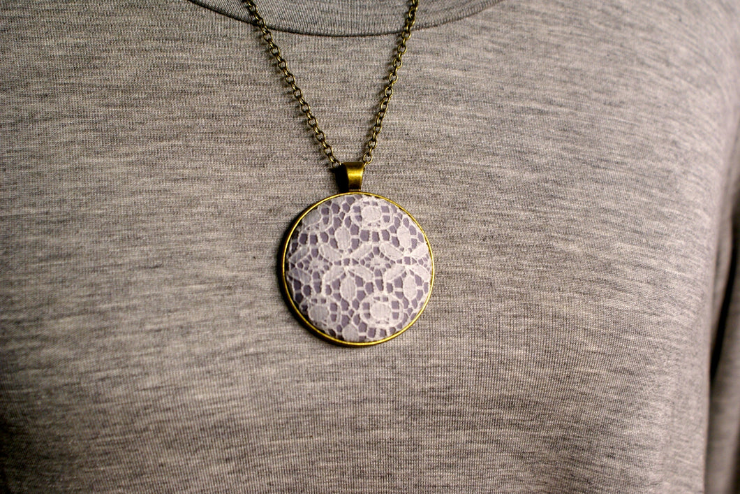 Long Lace & Fabric Pendant #5