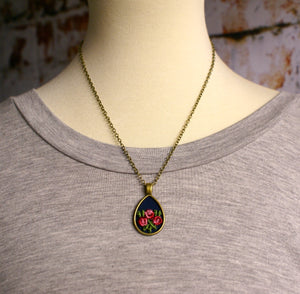 Short Lace & Fabric Pendant #3