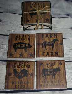 Farmhouse Stone Coaster Set