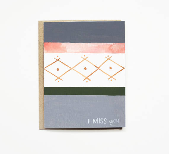 Patterned Throw, Miss You Card