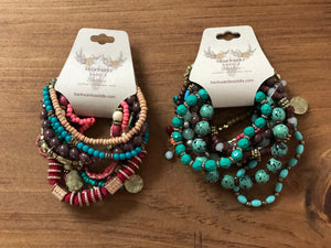 Burgundy and teal bracelet set