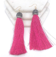 Load image into Gallery viewer, Stone Cap Tassel Earrings