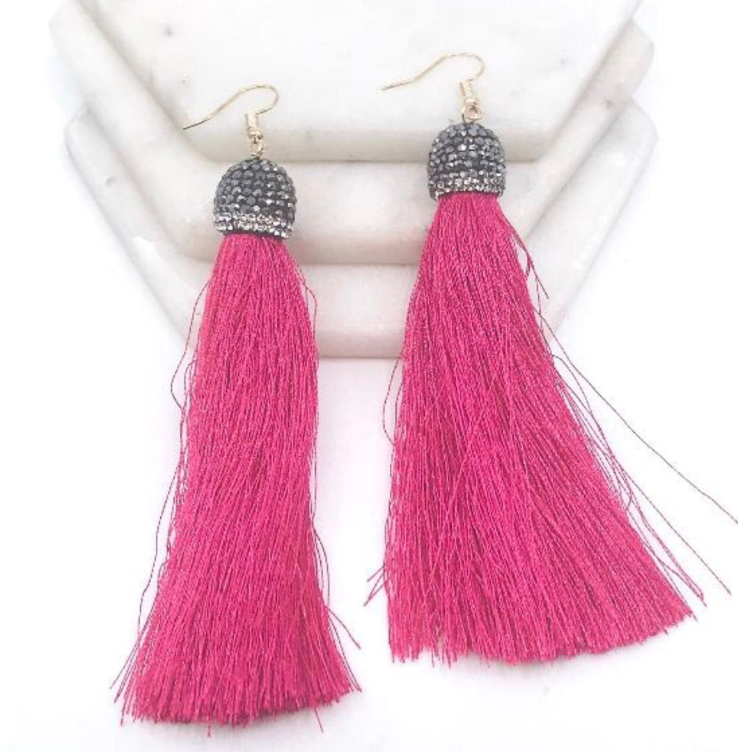Stone Cap Tassel Earrings
