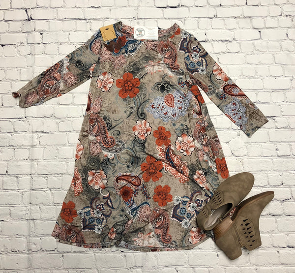 Olive Floral Paisley Dress