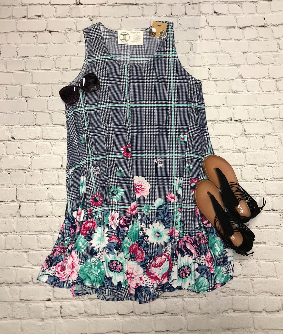 Navy Mint Floral Dress