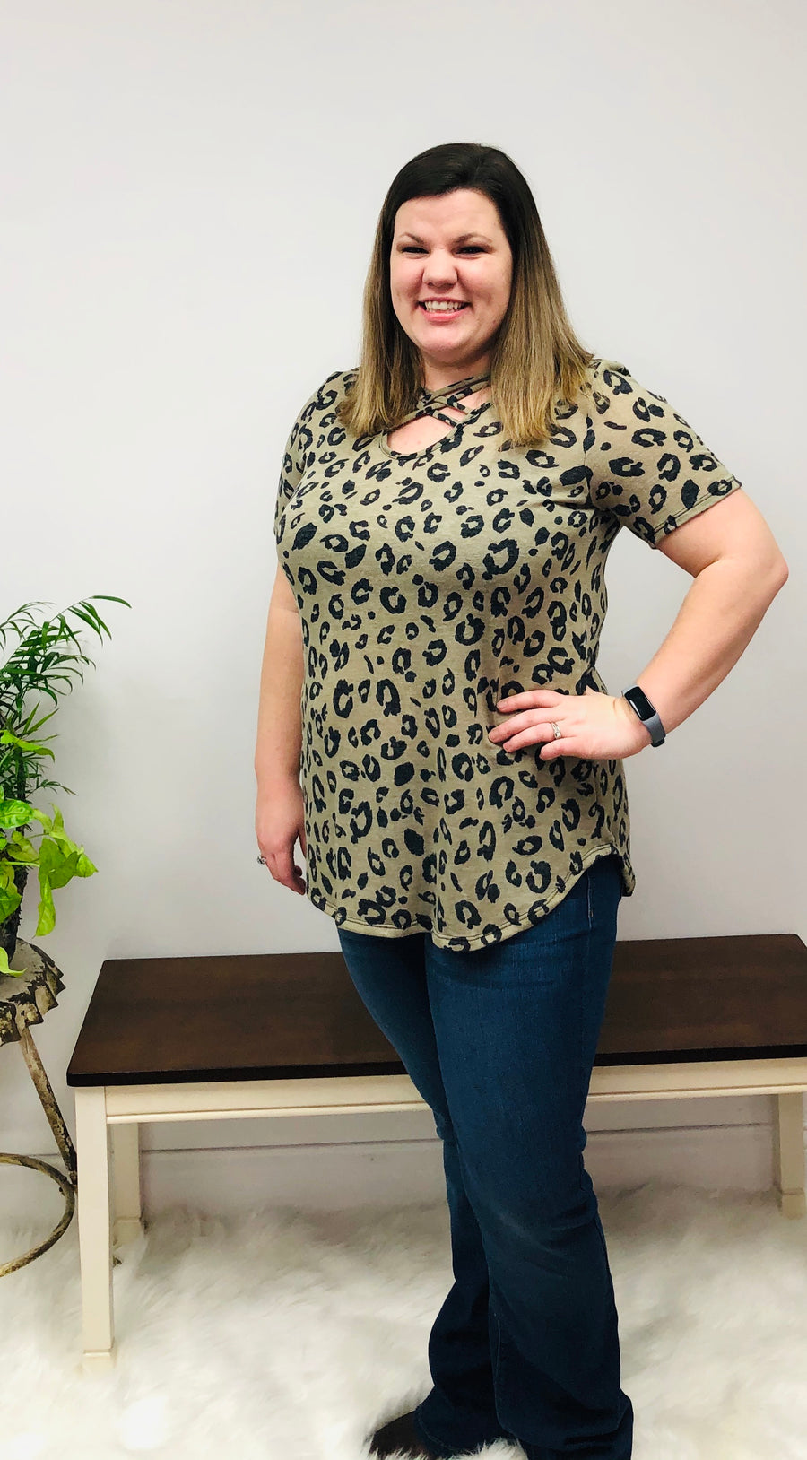 Taupe Criss-Cross Animal Print Top