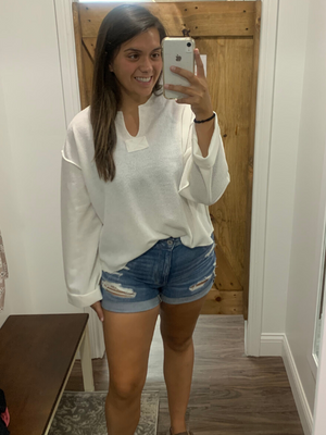 White V-neck Oversized Top