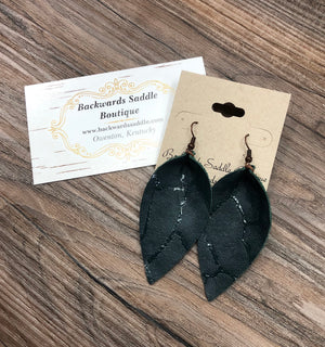 Distressed Hunter Green Basic Petal Earrings