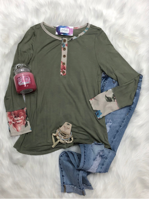 Olive green top with flare
