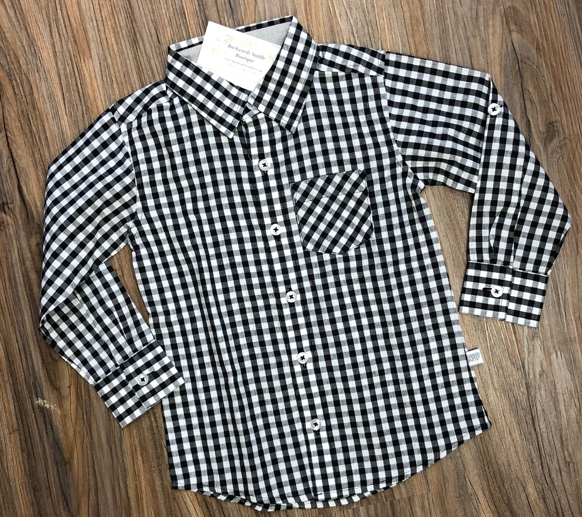 Black White Gingham Button Down Shirt