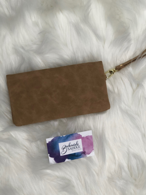 Faux leather wallet wristlet