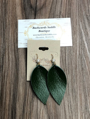 Green Petal Earrings with Pearl Charm