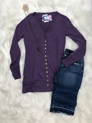 Snap button sweater cardigan in lilac gray