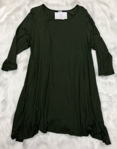 Solid 3/4 Sleeve Dress