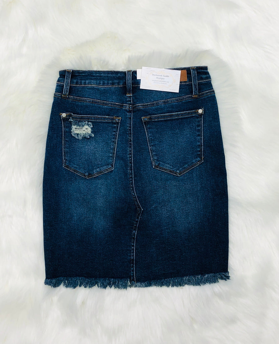 Judy Blue Triangle Cut Pencil Denim Skirt