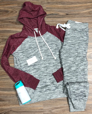 Two tone hoodie fleece set