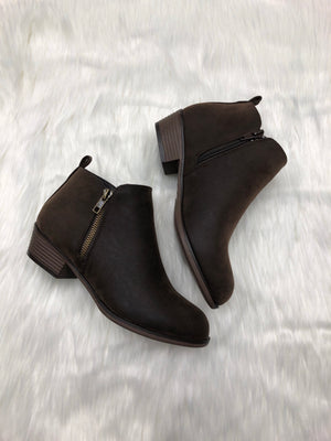 Brown Solid Bootie