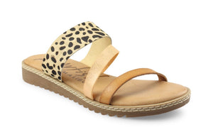 Sand and Leopard Strapped Sandal