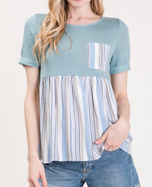 Sage Chambray Striped Top