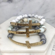 Load image into Gallery viewer, Stone Beaded Bracelet with Hammered Cross