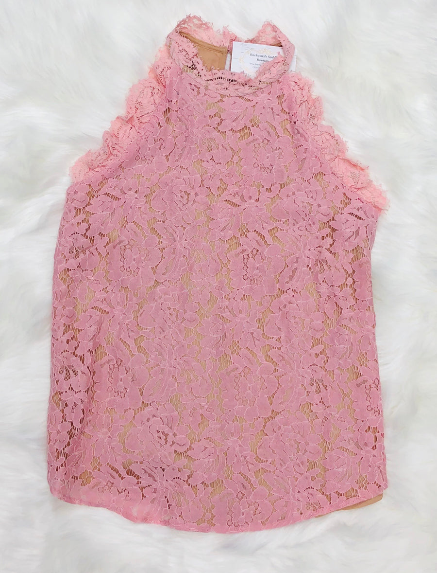 Mauve Sleeveless Lace Top