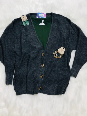 Melange button down cardigan
