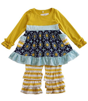 Navy & Mustard Fall Girls Set