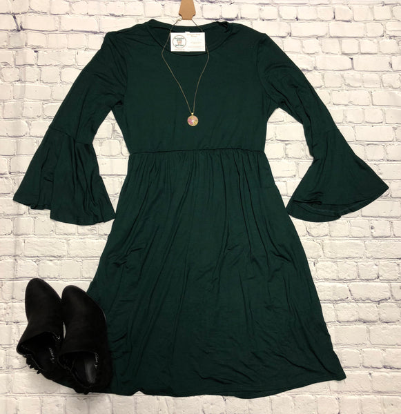 Solid Midi Dress Bell Sleeves